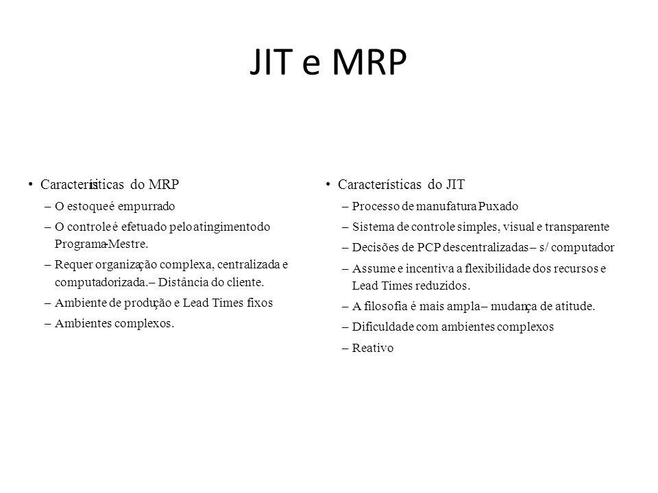 JIT e MRP • Características do MRP ri • Características do JIT –