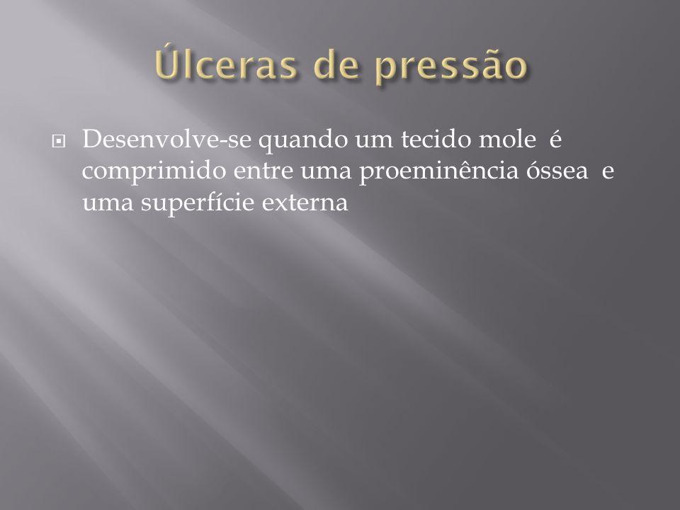 Úlceras de pressão Desenvolve-se quando um tecido mole é comprimido entre uma proeminência óssea e uma superfície externa.
