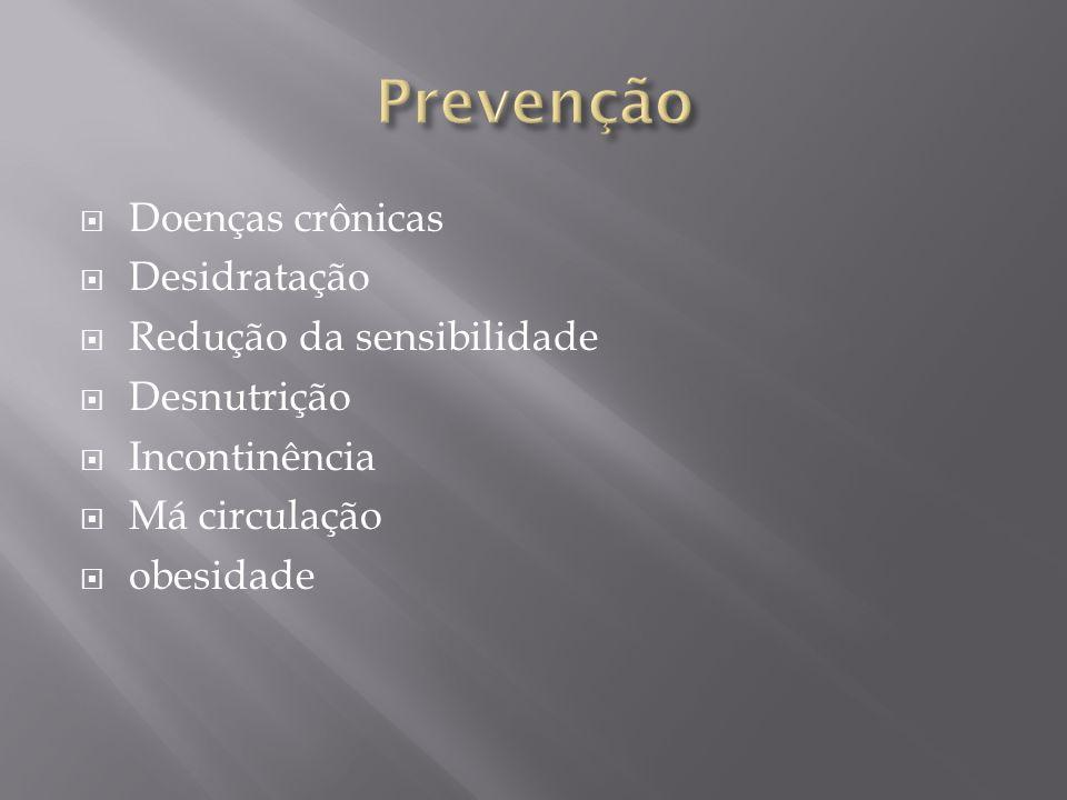 Prevenção Doenças crônicas Desidratação Redução da sensibilidade