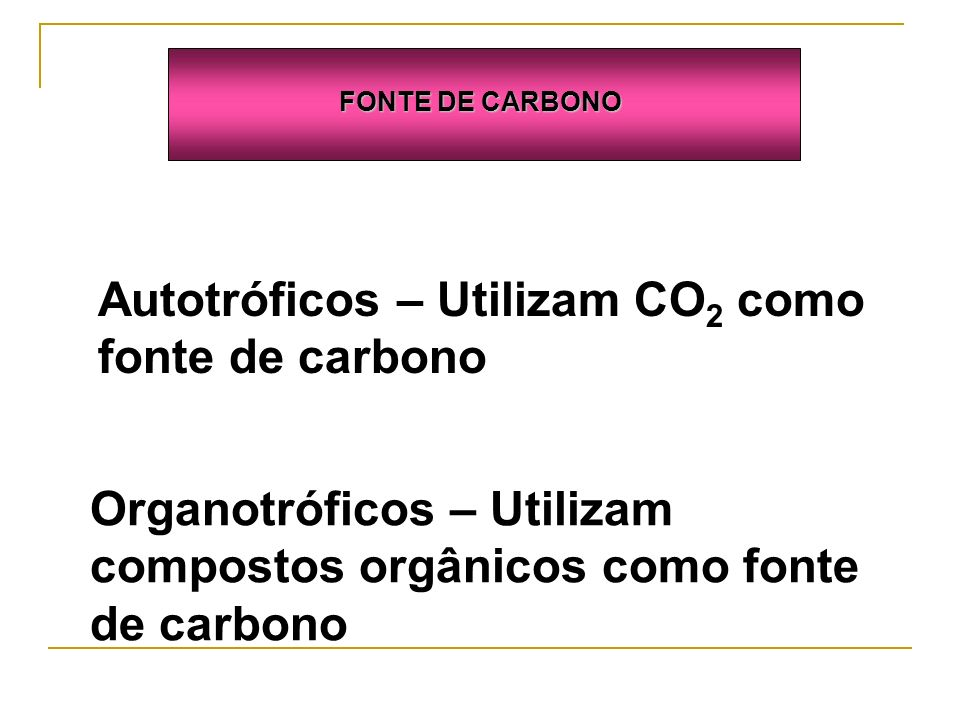 Autotróficos – Utilizam CO2 como fonte de carbono