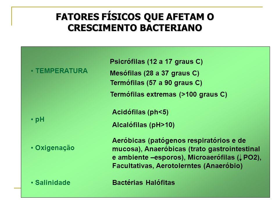FATORES FÍSICOS QUE AFETAM O CRESCIMENTO BACTERIANO