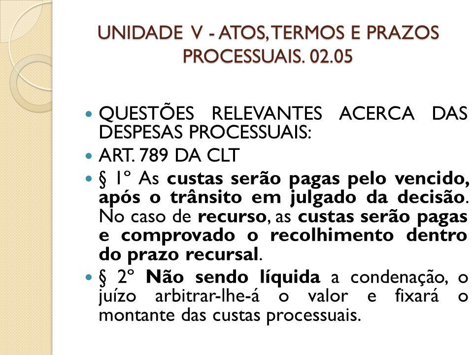 UNIDADE V - ATOS, TERMOS E PRAZOS PROCESSUAIS. 02.05