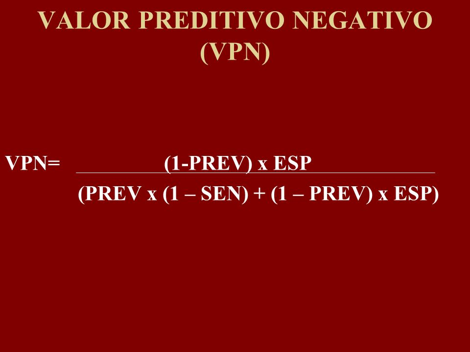 VALOR PREDITIVO NEGATIVO (VPN)