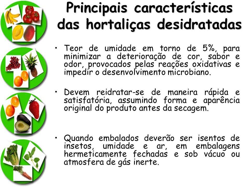 Principais características das hortaliças desidratadas
