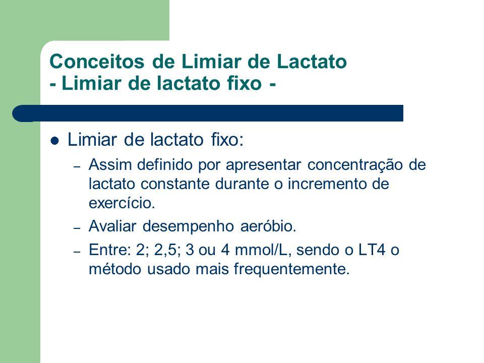 Conceitos de Limiar de Lactato - Limiar de lactato fixo -