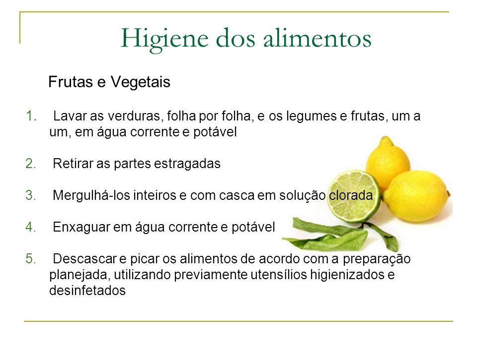 Higiene dos alimentos Frutas e Vegetais