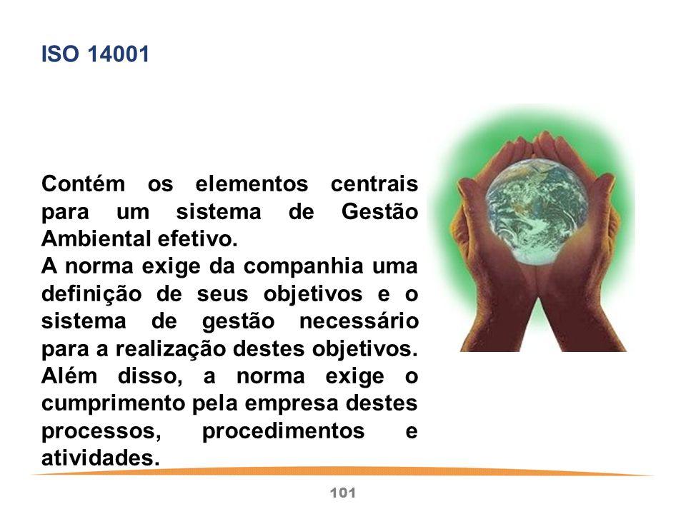 ISO 14001 Contém os elementos centrais para um sistema de Gestão Ambiental efetivo.