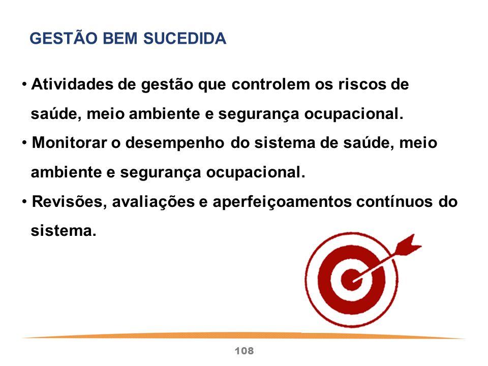 GESTÃO BEM SUCEDIDA Atividades de gestão que controlem os riscos de. saúde, meio ambiente e segurança ocupacional.