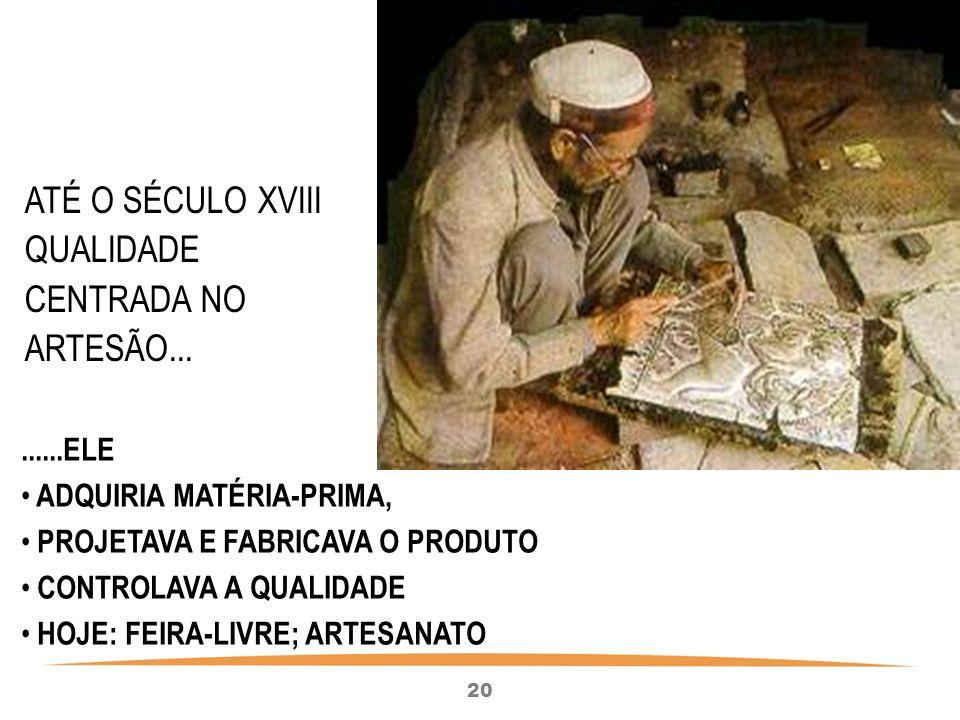 ATÉ O SÉCULO XVIII QUALIDADE CENTRADA NO ARTESÃO...