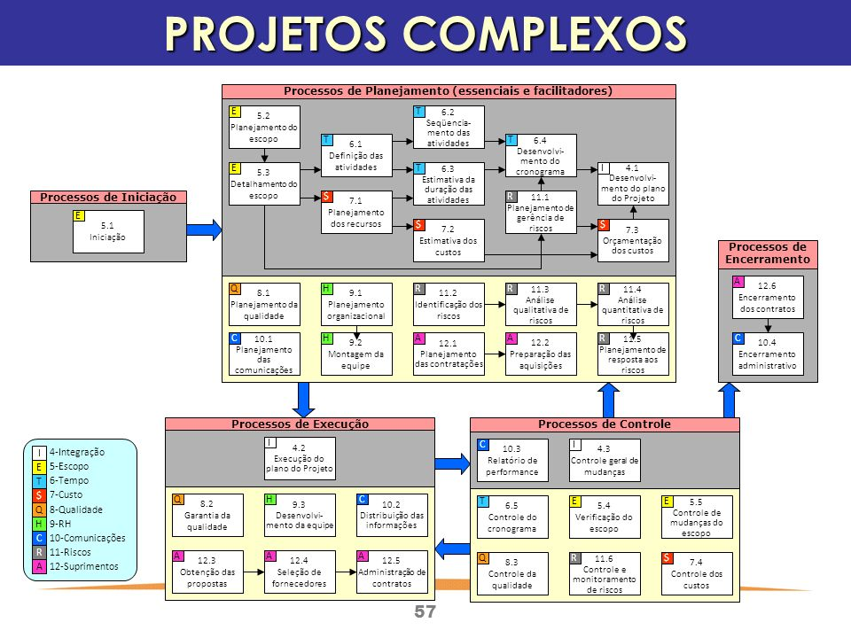 PROJETOS COMPLEXOS Processos de Encerramento Processos de Controle