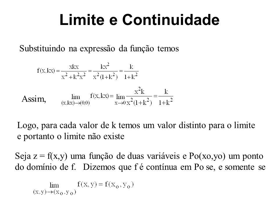 Limite e Continuidade Substituindo na expressão da função temos Assim,