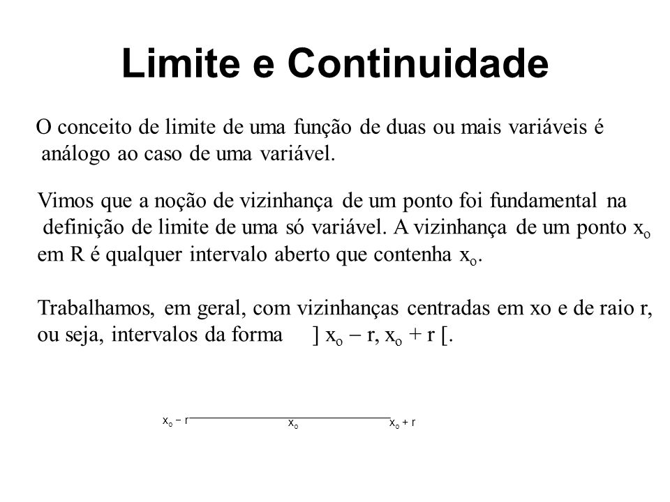 Limite e Continuidade O conceito de limite de uma função de duas ou mais variáveis é. análogo ao caso de uma variável.