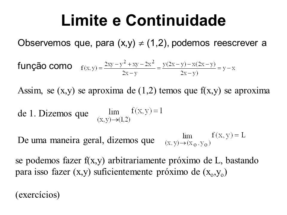 Limite e Continuidade Observemos que, para (x,y)  (1,2), podemos reescrever a. função como.