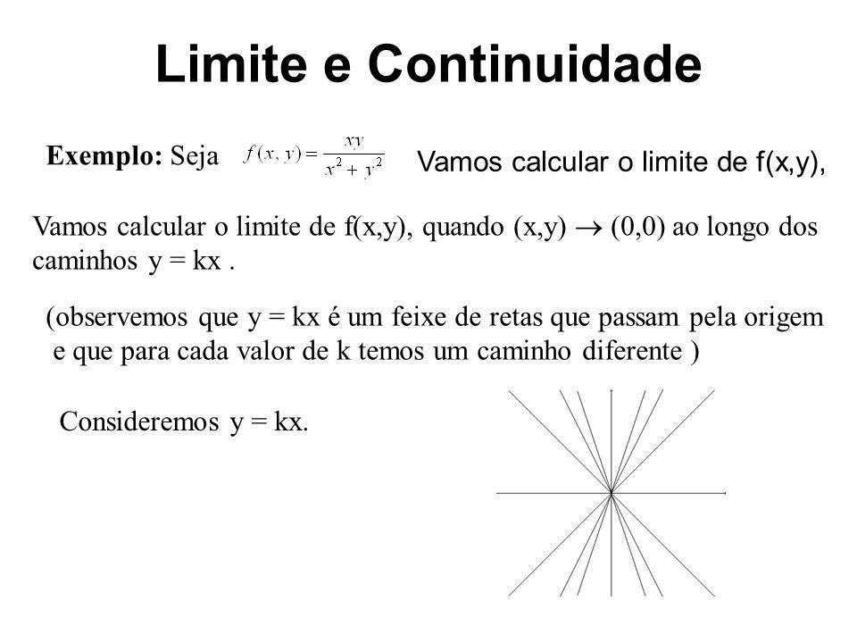 Limite e Continuidade Exemplo: Seja Vamos calcular o limite de f(x,y),