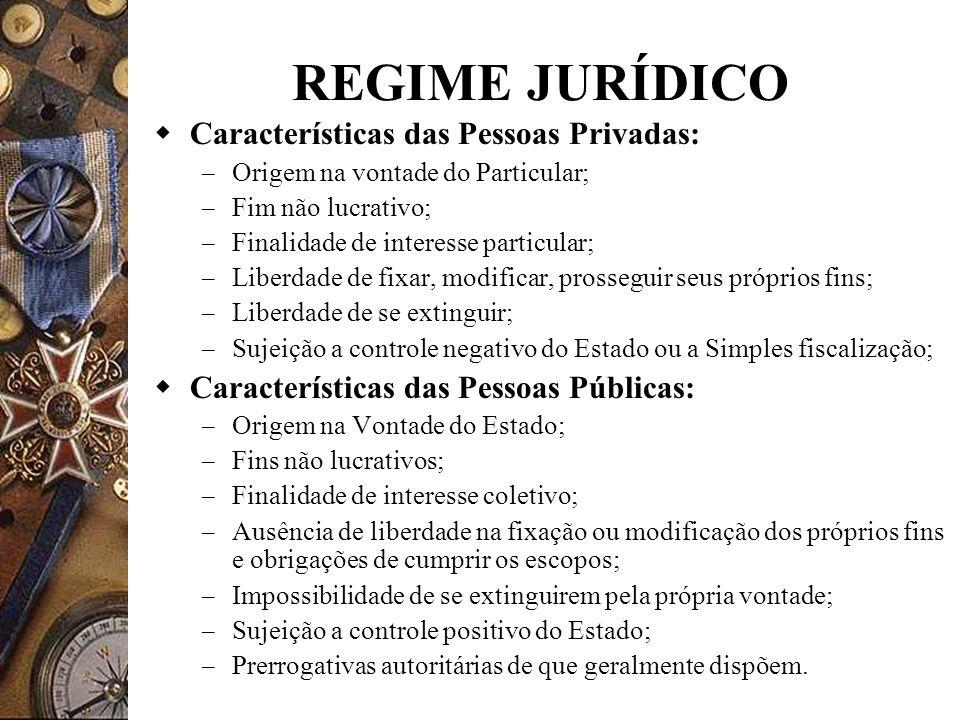 REGIME JURÍDICO Características das Pessoas Privadas: