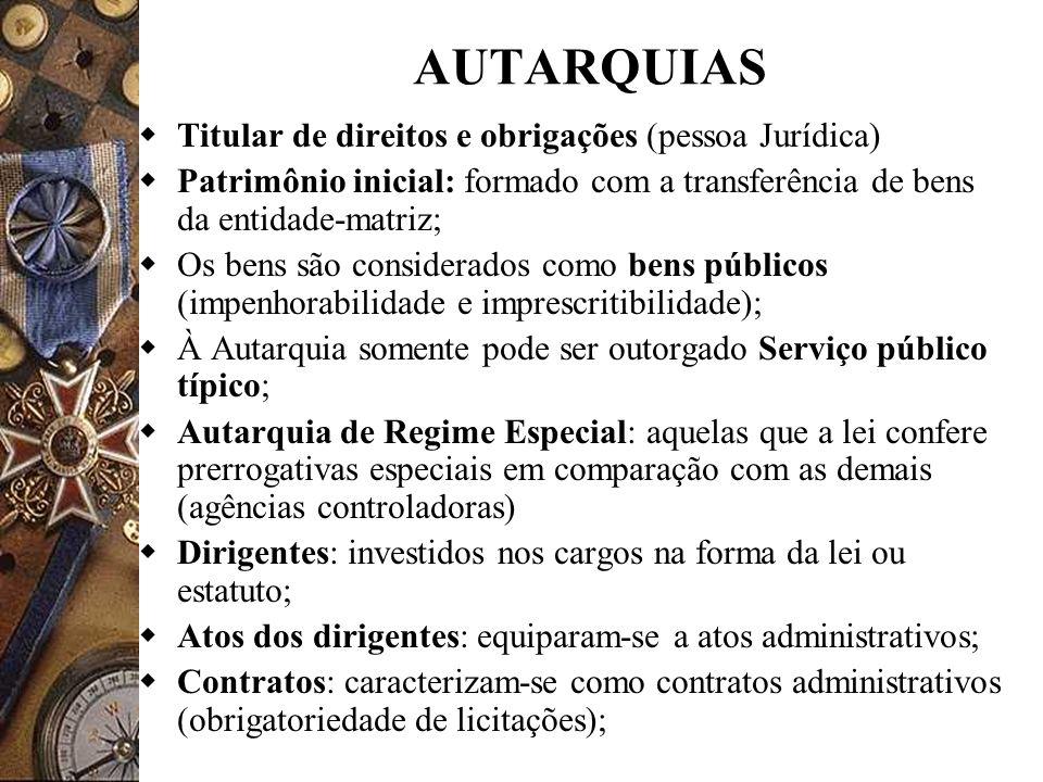 AUTARQUIAS Titular de direitos e obrigações (pessoa Jurídica)