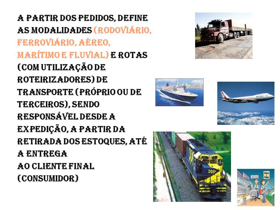 A PARTIR DOS PEDIDOS, DEFINE AS MODALIDADES (RODOVIÁRIO, FERROVIÁRIO, AÉREO, MARÍTIMO E FLUVIAL) E ROTAS (COM UTILIZAÇÃO DE ROTEIRIZADORES) DE TRANSPORTE (PRÓPRIO OU DE TERCEIROS), SENDO RESPONSÁVEL DESDE A EXPEDIÇÃO, A PARTIR DA RETIRADA DOS ESTOQUES, ATÉ A ENTREGA