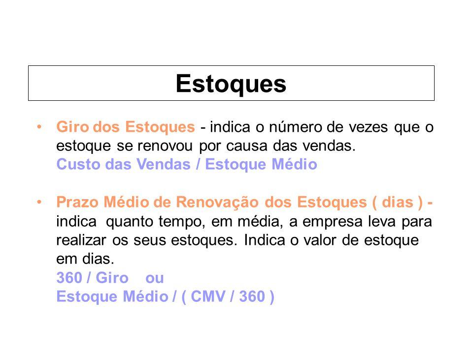 EstoquesGiro dos Estoques - indica o número de vezes que o estoque se renovou por causa das vendas.