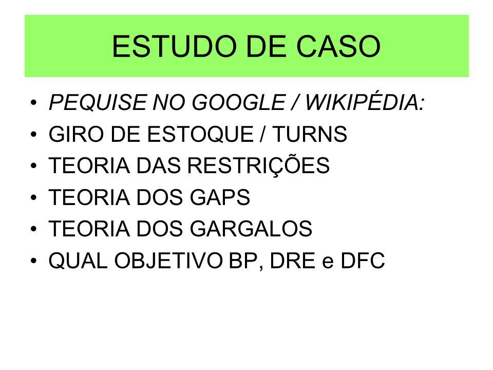 ESTUDO DE CASO PEQUISE NO GOOGLE / WIKIPÉDIA: GIRO DE ESTOQUE / TURNS