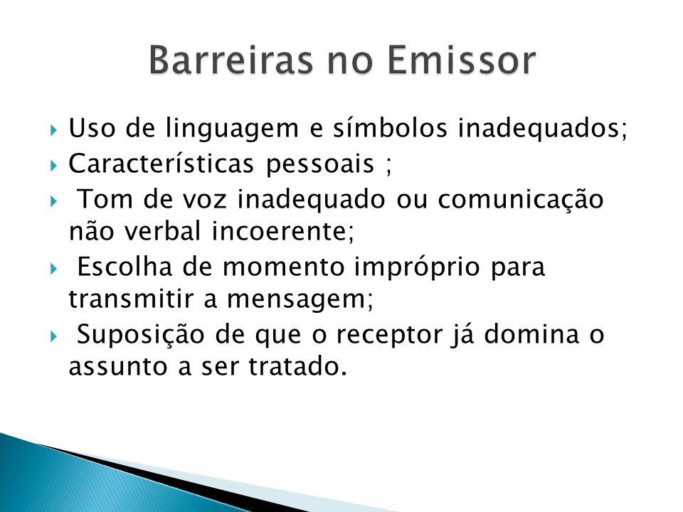 Barreiras no Emissor Uso de linguagem e símbolos inadequados;