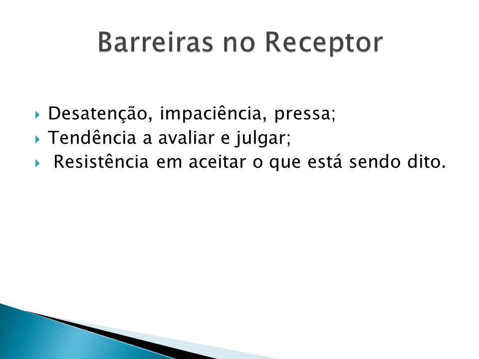 Barreiras no Receptor Desatenção, impaciência, pressa;
