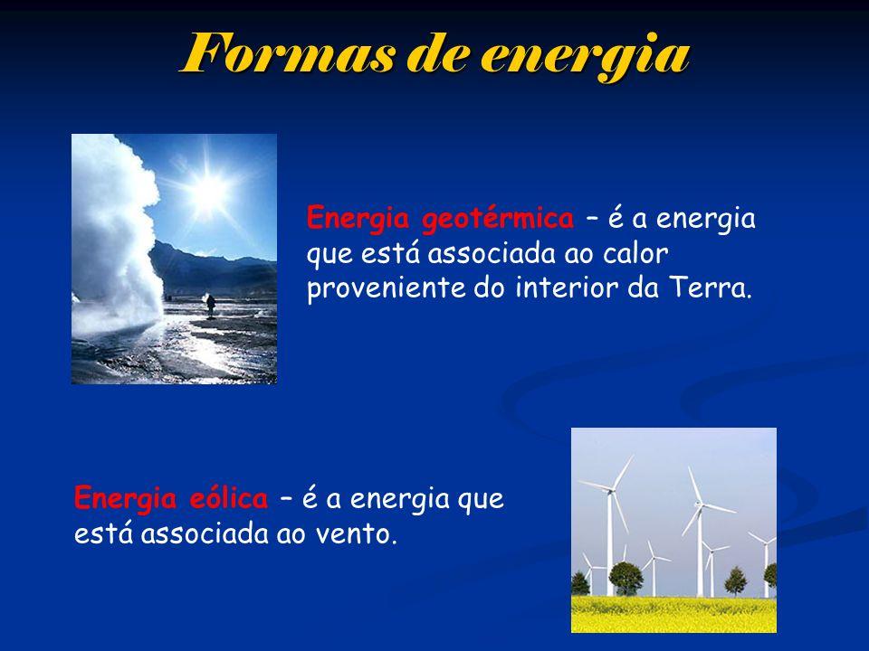 Formas de energia Energia geotérmica – é a energia que está associada ao calor proveniente do interior da Terra.