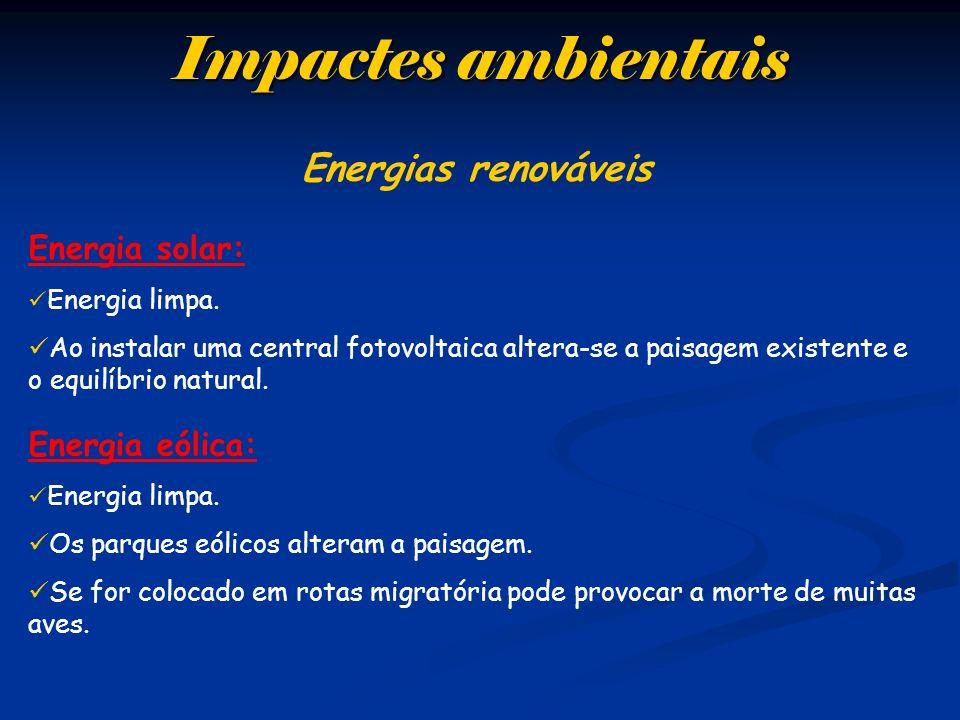 Impactes ambientais Energias renováveis Energia solar: Energia eólica: