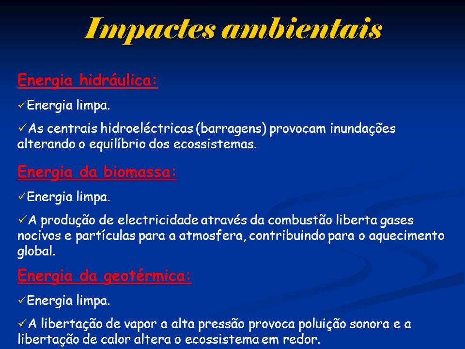 Impactes ambientais Energia hidráulica: Energia da biomassa: