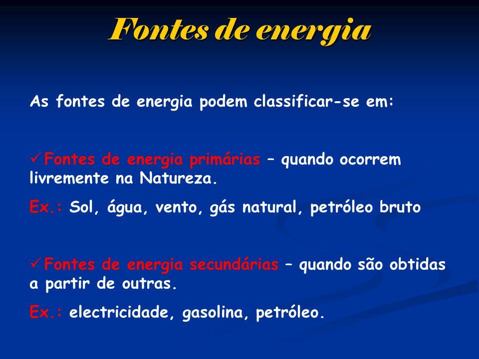 Fontes de energia As fontes de energia podem classificar-se em: