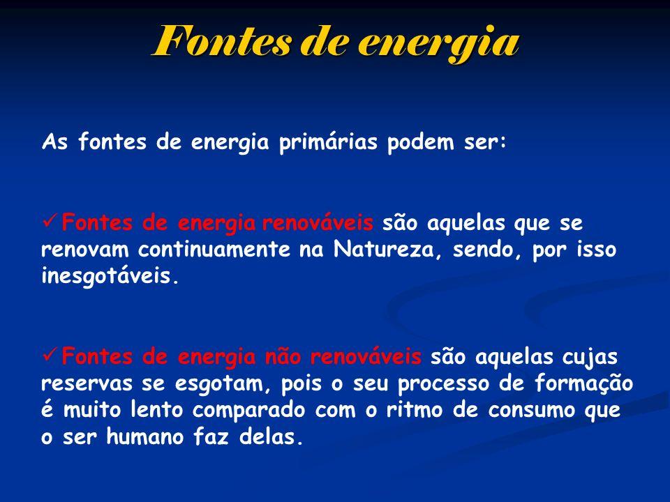 Fontes de energia As fontes de energia primárias podem ser: