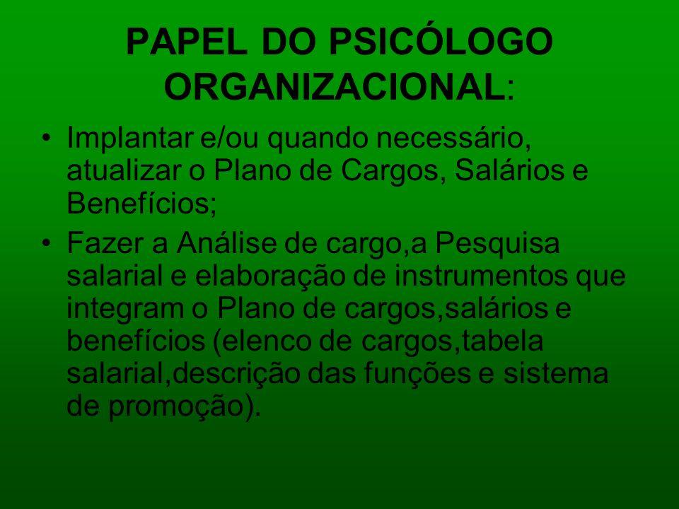 PAPEL DO PSICÓLOGO ORGANIZACIONAL: