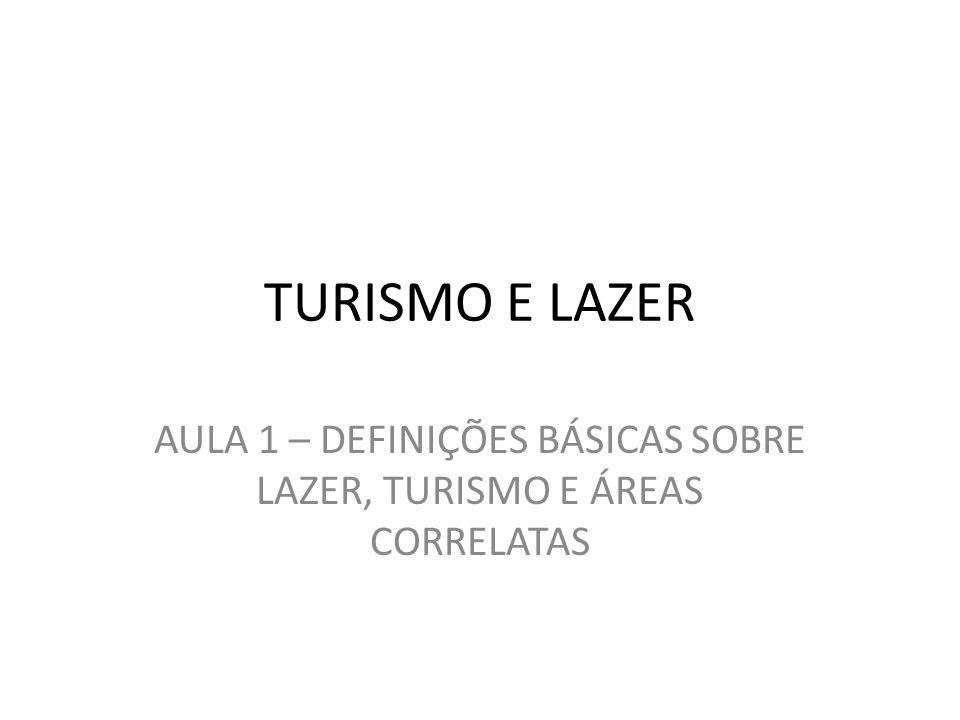 AULA 1 – DEFINIÇÕES BÁSICAS SOBRE LAZER, TURISMO E ÁREAS CORRELATAS