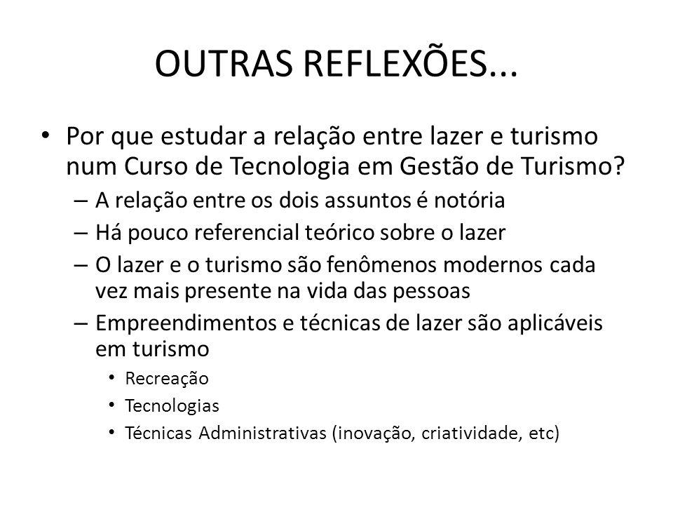 OUTRAS REFLEXÕES... Por que estudar a relação entre lazer e turismo num Curso de Tecnologia em Gestão de Turismo