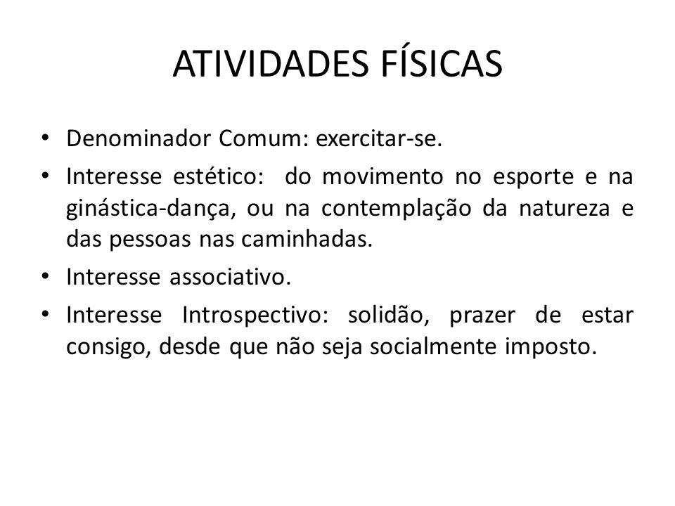 ATIVIDADES FÍSICAS Denominador Comum: exercitar-se.