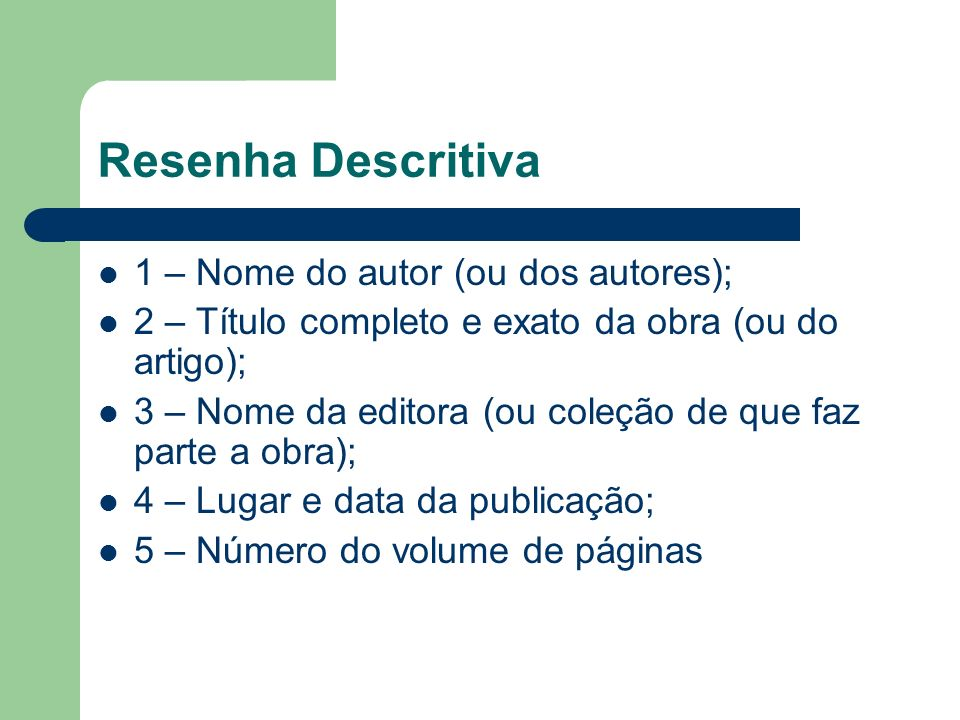 Resenha Descritiva 1 – Nome do autor (ou dos autores);