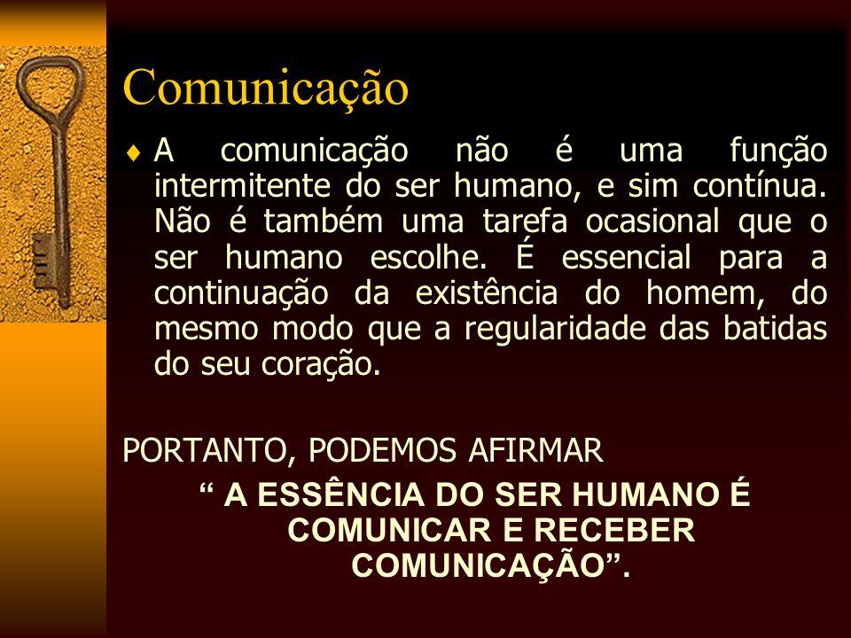 A ESSÊNCIA DO SER HUMANO É COMUNICAR E RECEBER COMUNICAÇÃO .