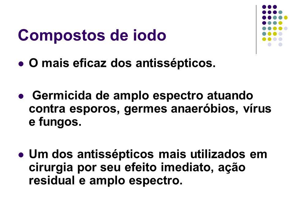 Compostos de iodo O mais eficaz dos antissépticos.
