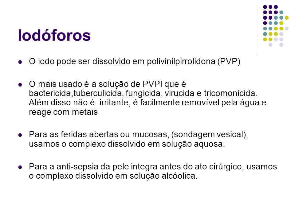 Iodóforos O iodo pode ser dissolvido em polivinilpirrolidona (PVP)
