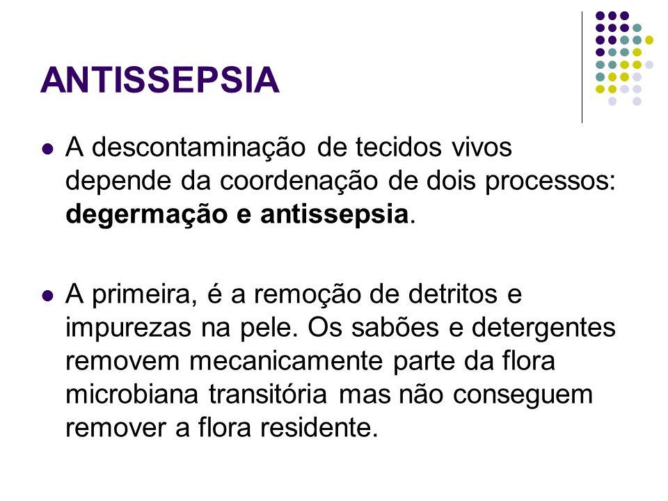 ANTISSEPSIA A descontaminação de tecidos vivos depende da coordenação de dois processos: degermação e antissepsia.