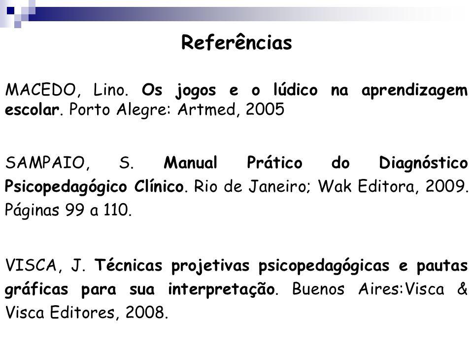 Referências MACEDO, Lino. Os jogos e o lúdico na aprendizagem escolar. Porto Alegre: Artmed, 2005.