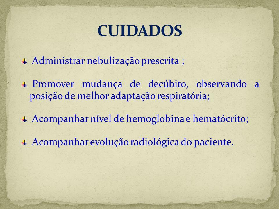 CUIDADOS Administrar nebulização prescrita ;