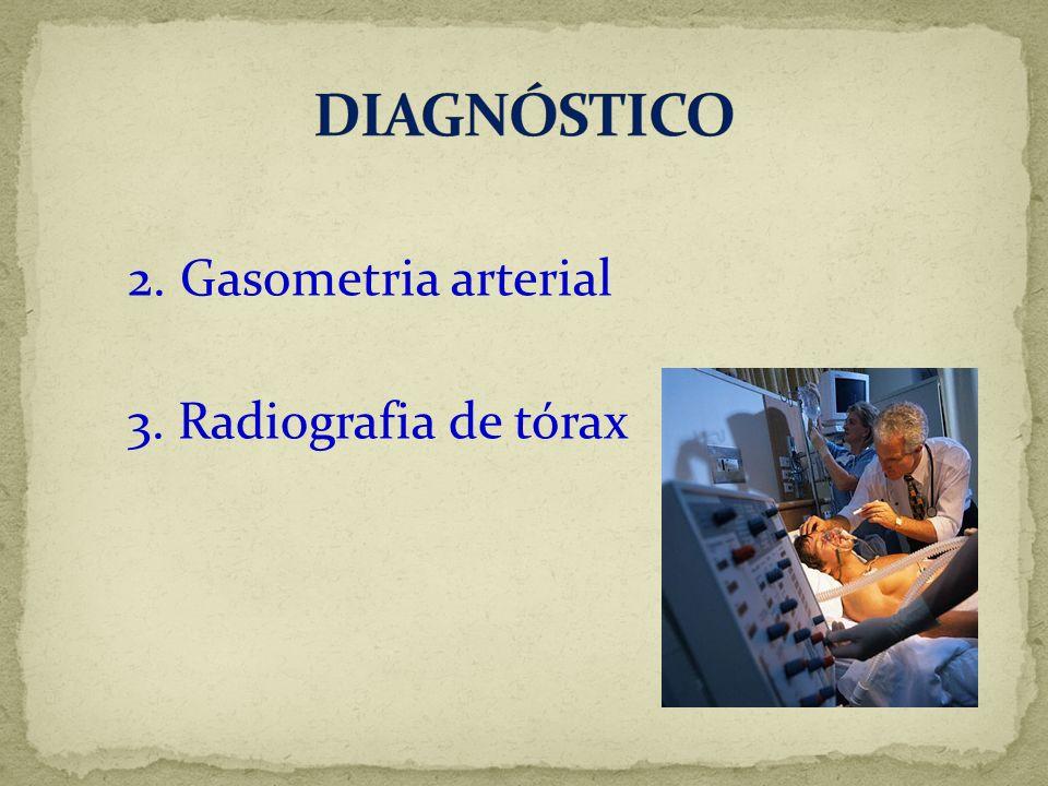 DIAGNÓSTICO 2. Gasometria arterial 3. Radiografia de tórax