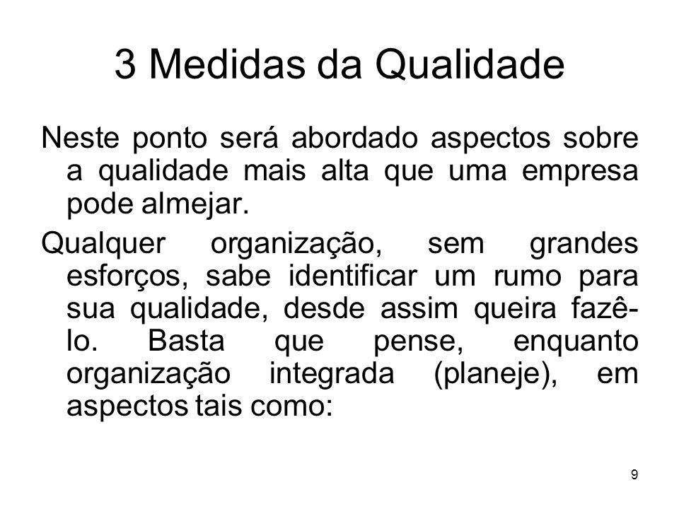 3 Medidas da QualidadeNeste ponto será abordado aspectos sobre a qualidade mais alta que uma empresa pode almejar.