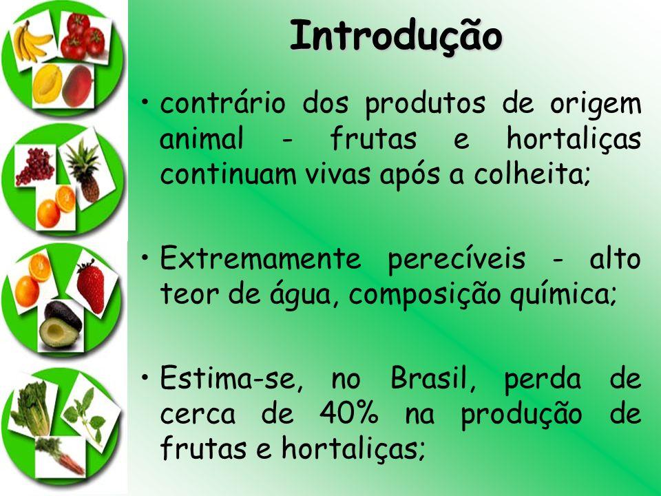 Introdução contrário dos produtos de origem animal - frutas e hortaliças continuam vivas após a colheita;
