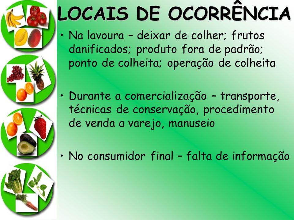 LOCAIS DE OCORRÊNCIANa lavoura – deixar de colher; frutos danificados; produto fora de padrão; ponto de colheita; operação de colheita.