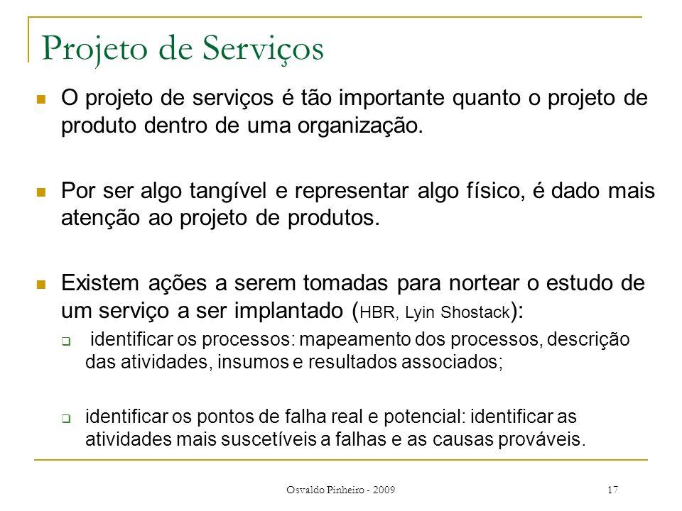Projeto de Serviços O projeto de serviços é tão importante quanto o projeto de produto dentro de uma organização.
