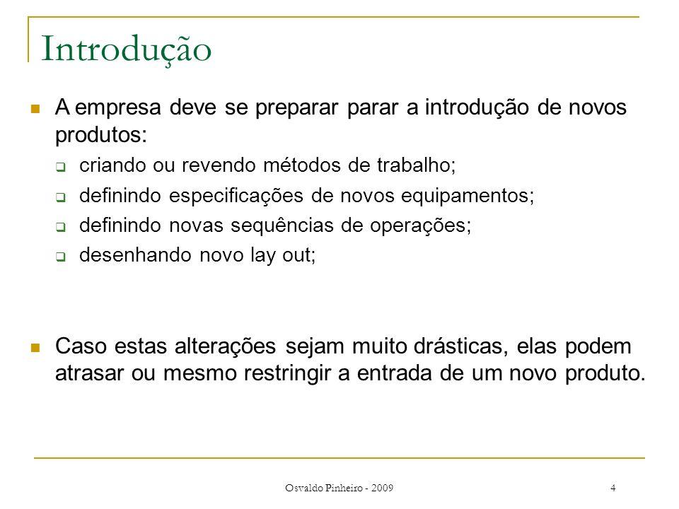 Introdução A empresa deve se preparar parar a introdução de novos produtos: criando ou revendo métodos de trabalho;