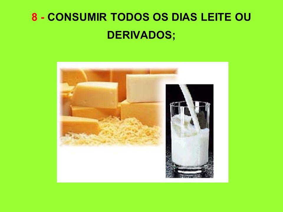 8 - CONSUMIR TODOS OS DIAS LEITE OU DERIVADOS;