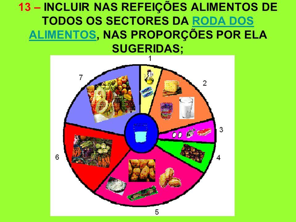 13 – INCLUIR NAS REFEIÇÕES ALIMENTOS DE TODOS OS SECTORES DA RODA DOS ALIMENTOS, NAS PROPORÇÕES POR ELA SUGERIDAS;