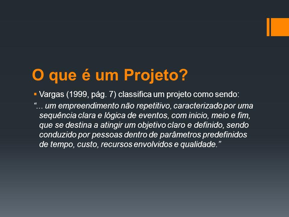 O que é um Projeto Vargas (1999, pág. 7) classifica um projeto como sendo: